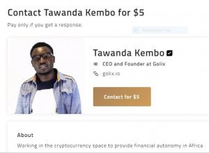 A web page charges $5 to 'contact' Tawanda Kembo